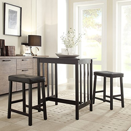 3 Piece Bistro Kitchen Dining Table and Chairs Set Black Upholstered Fabric Wood Bar Stools Island Breakfast Nook Tall Counter Height Saddle Back Dinner Seating Dishes Area Rug Home Decor Not Included (Breakfast Chairs Island)