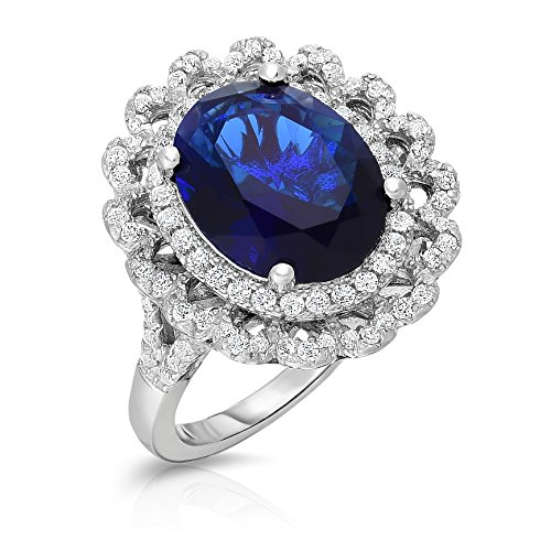 (Sterling Silver Created Sapphire with White CZ Halo Jacket Princess Diana Enhanced Engagement Ring (7))