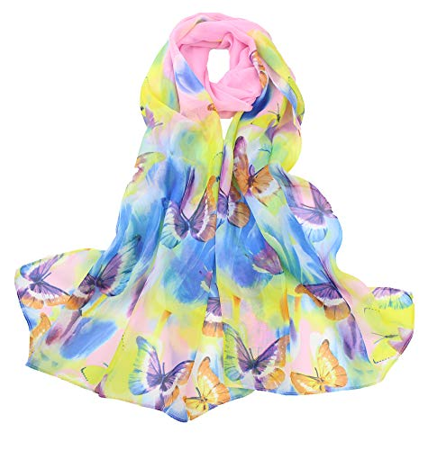 Women's Polyester Chiffon Scarf Neck Fashionable Printing Floral Country Style Lightweight scarves for Ladies and Girls (004)