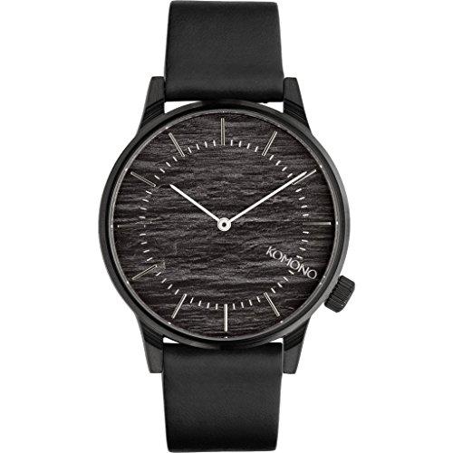 Komono KOM-W3013 Mens Black Leather Band Winston Graphite Quartz Dial Watch
