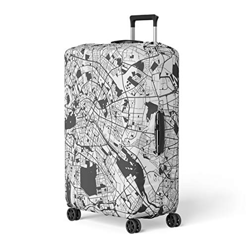 Semtomn Luggage Cover Berlin Monochrome Map Artprint Outline Ready for Color Change Travel Suitcase Cover Protector Baggage Case Fits 18-22 Inch