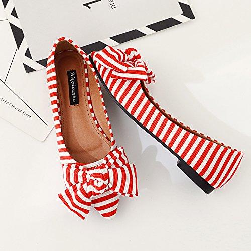 Xue Qiqi Court Schuhe Spitz Flache Flache Flache Schuhe Flacher Mund flach mit einzelnen Schuhen Damen Streifen Schmetterling Niedriger Absatz Vier Schuhe Damenschuhe 35 rot b906e7
