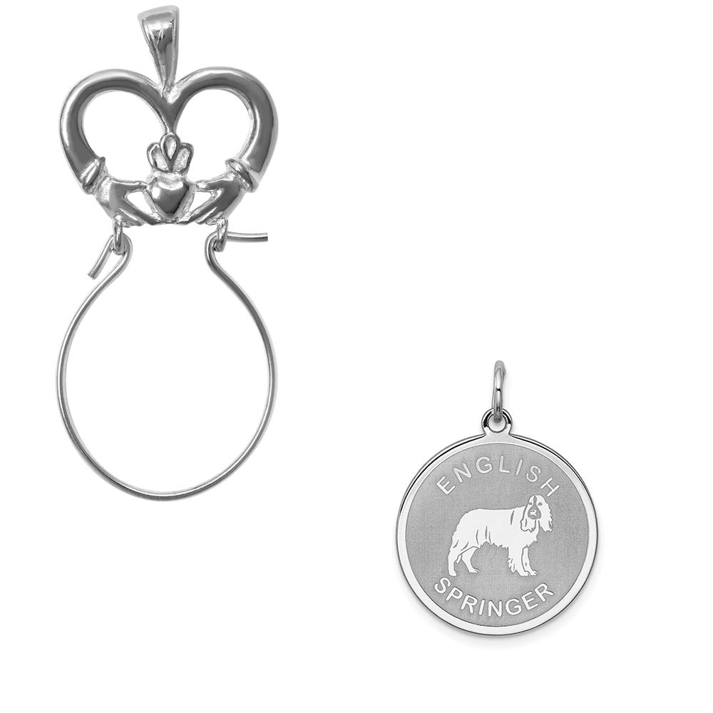 Mireval Sterling Silver Anti-Tarnish Treated English Springer Disc Charm on an Optional Charm Holder
