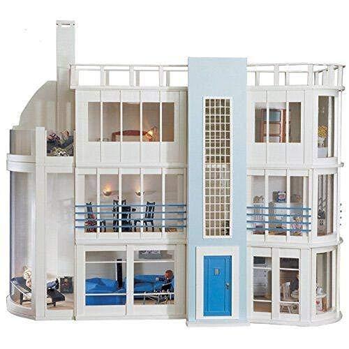 (Malibu Beach Modern Art Deco Dollhouse Unpainted Flat Pack Kit 1:12 Scale)
