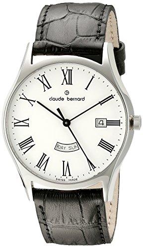 Claude Bernard Men's 84200 3 BR Classic Analog Display Swiss Quartz Black Watch