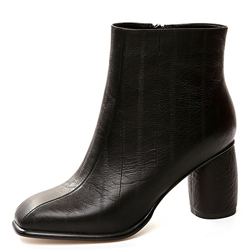 Genuine Handmade Leather Toe Block Booties Black Classic Seven Square Dress Nine Ankle Work Women's Heel A5vUxwg