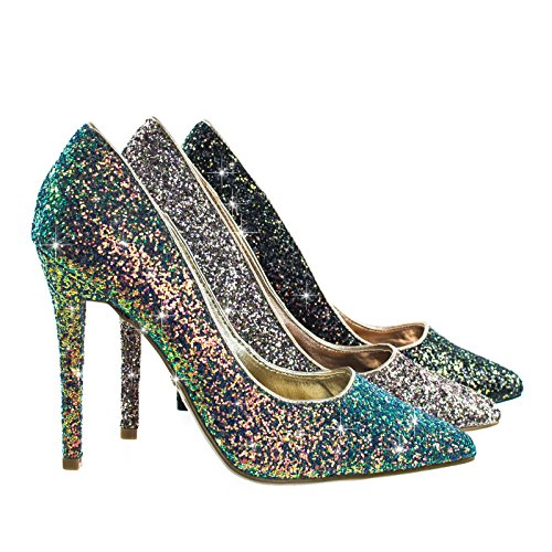 Dedicate76 blue / green Rock Glitter High Heel Pointed Toe Dress Pump (Anne Michelle Pumps)