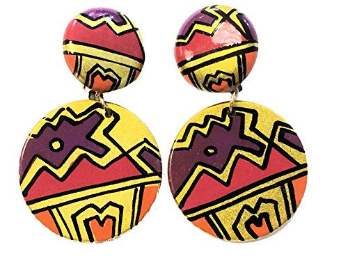 Colorful Southwest Clip on Round Plastic Dangle Earrings Gd (Plastic Clip On Earrings)