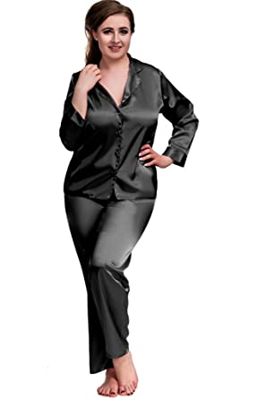 eefddc307d1b5 Nine X- Plus Size Lingerie S-6XL Satin Pyjamas Long Sleeve Nightwear Black  PJ'S