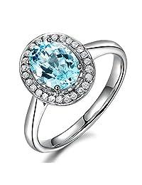 94fc2d31955744 Vintage Antique Gemstone Natural Aquamarine Wedding Promise Solid 14K White  Gold Diamond Ring Set for Women