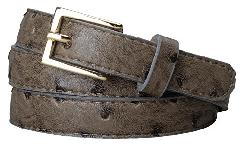 Womens Square Buckle Color Ostrich Print Leather Skinny Belt (S(27