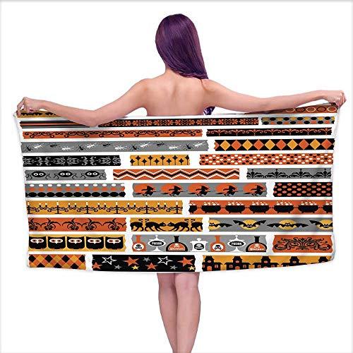 Aurauiora Bath Towel wrap for Women Halloween Clipart washi Tape,W10 xL39 for Bathroom Striped -