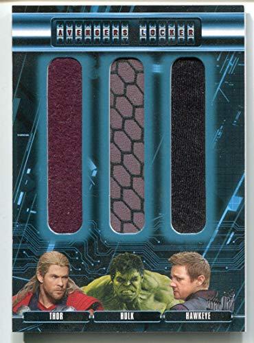 Thor HULK Hawkeye (Trading Card) 2015 Upper Deck AVENGERS Age of Ultron Locker Movie - Costume #AL3-THH Swatch Memorabilia Chris Hemsworth Mark Ruffalo Jeremy Renner Costume Wardrobe