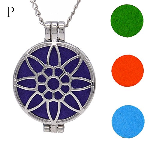 Makifly Women's Vintage Hollow Aromatherapy Pendant Necklaces Essential Oil Diffuser Necklace with Pad Fragrance Unique Exquisite - Milgrain Setting