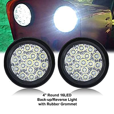 TOPPOWER 4'' Round LED Back up Reverse Fog Light with Clear Lens&Rubber Grommet Waterproof 12/24V Taillight/Side Maker Light for Truck Trailer RV UTV Bus etc,: Automotive
