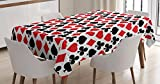 Casino Decorations Tablecloth by Ambesonne, Card Suits Pattern with Clubs Diamonds Hearts Spades Poker Gamble Theme, Dining Room Kitchen Rectangular Table Cover, 52 X 70 Inches