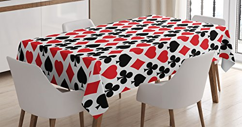 Casino Decorations Tablecloth by Ambesonne, Card Suits Pattern with Clubs Diamonds Hearts Spades Poker Gamble Theme, Dining Room Kitchen Rectangular Table Cover, 60 X 90 - Diamonds Spades Poker Hearts Clubs