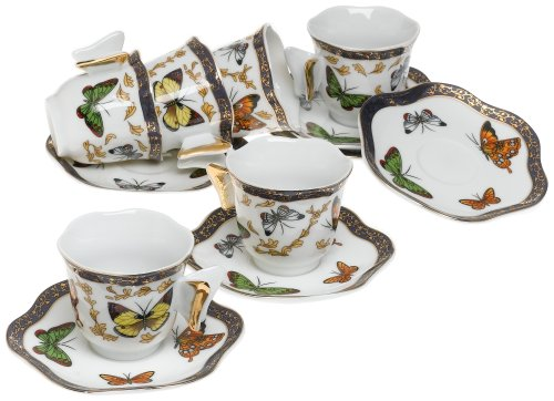 Yedi Houseware Classic Coffee and Tea Butterfly Espresso Cups and Saucers, White, Set of 6