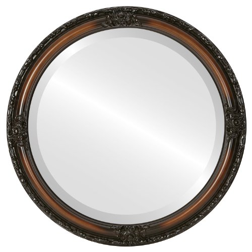 Round Beveled Wall Mirror for Home Decor - Jefferson Style - Walnut - 26x26 outside dimensions