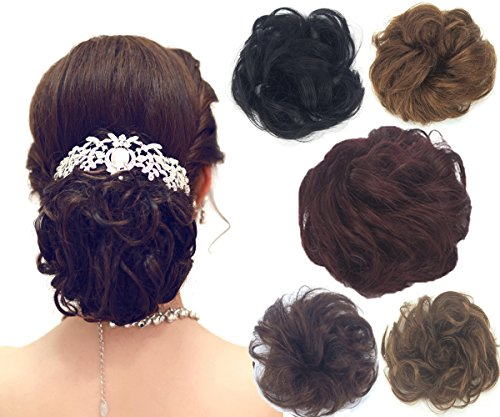 100% Remy Human Hair Bun Extensions Hair Ponytail Extension Wavy Curly Messy Hair Extensions Donut Hair Chignons