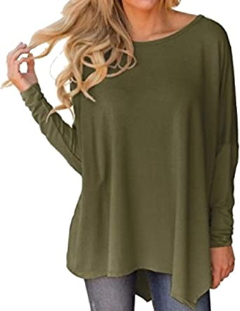 SOWTKSL - Camiseta de Manga Larga para Mujer (algodón, Talla Grande) Verde Ejercito Verde S: Amazon.es: Ropa y accesorios