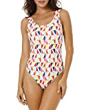 Funnygirl Women's Sexy Retro One Piece Swimsuit High Cut Backless Beach Swimwear Bathing Suit Colorful Print Small