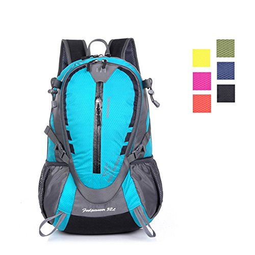 Day Hiking Backpack, ZCL 25L International Travel Daypack Carry-On, Camping Climbing Trekking, Lightweight, Water-Resistant, Spacious, Comfortable, Vibrant, Sky - 25 Backpack Liter