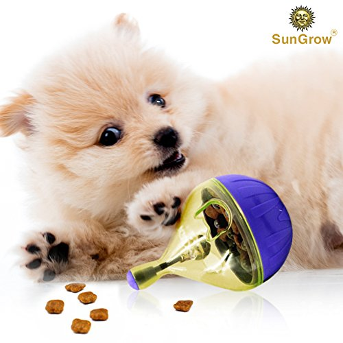 51XVTz9L47L - SunGrow Treat Ball for Dogs & Cats - For IQ and Mental stimulation - Slow eating prevents obesity, improves digestion - Bell jingles and attracts pet's attention - Fun & Interactive Food Dispenser