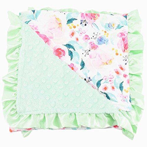 Unique Baby Minky Dot Swaddle Blanket Newborn, Floral Aqua