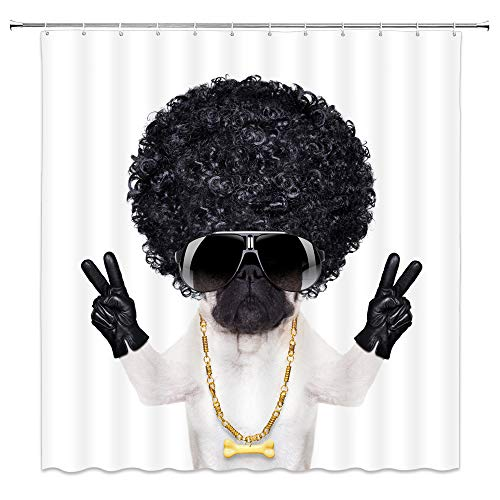 Pet Dog Shower Curtain Decor Black Wig Afro Hair Sunglasses Leather Gloves Hand Gestures Gold Necklace 70 x 70 Inches Bathroom Curtain Waterproof Polyester Fabric Machine Washable with 12pcs Hooks