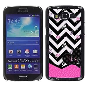 For Samsung Galaxy Grand 2 II / SM-G7102 / SM-G7105 Case , Black White Zebra Pink Heart - Diseño Patrón Teléfono Caso Cubierta Case Bumper Duro Protección Case Cover Funda