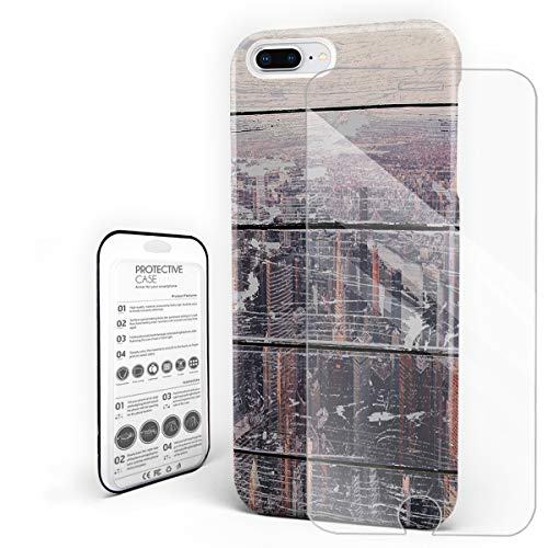 New York City On Old Board Phone Case for iPhone 7 Plus/iPhone 8 Plus Stylish Design Slim Anti-Fall Hard Plastic Phone Cover with Tempered Gglass Screen -