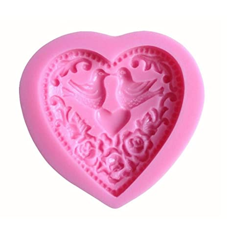 BESTONZON Molde de Silicona en Forma de Corazón Rosa para Chocolate Pastel Galleta Tarta Hornear Magdalena