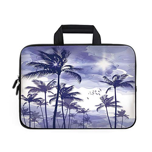 Beverly Laptop Case (Ocean Laptop Carrying Bag Sleeve,Neoprene Sleeve Case/Exotic Tropical Tall Palm Trees at Beverly Hills Sunset on Windy Day Abstract Artsy Print Decorative/for Apple MacBook Air Samsung Google Acer HP)