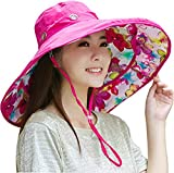 Packable Extra Large Brim Floppy Sun Hat Reversible UPF 50+ Beach Sun Bucket Hat (Rose Red Flower)