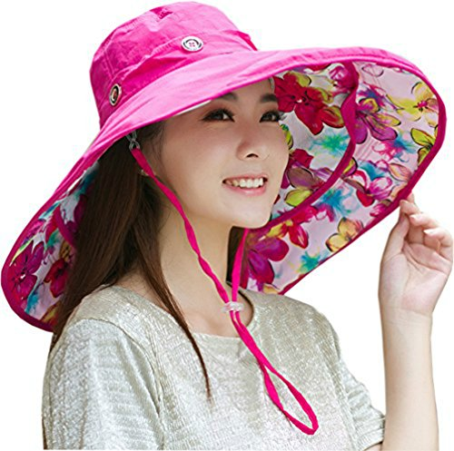 - Packable Extra Large Brim Floppy Sun Hat Reversible UPF 50+ Beach Sun Bucket Hat (Rose Red Flower)