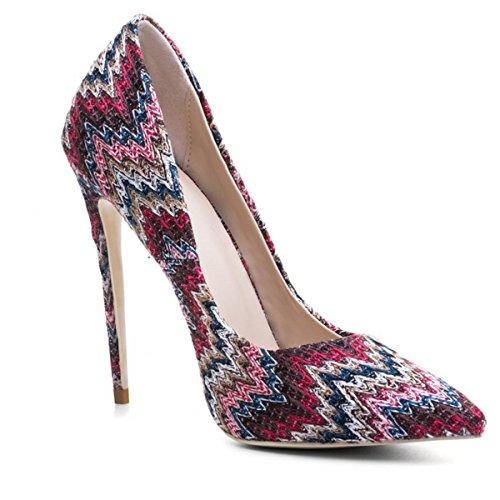 Red Chaussures Haute Stylet Fête Bleu Robe Femmes pied Doigt Tribunal Talon de Pompes Pointu EB8x4TwOq