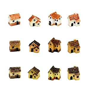 Pixie Glare Fairy Garden Miniature Micro Village Stone Houses 12 pack (Multicolor 12 pack)