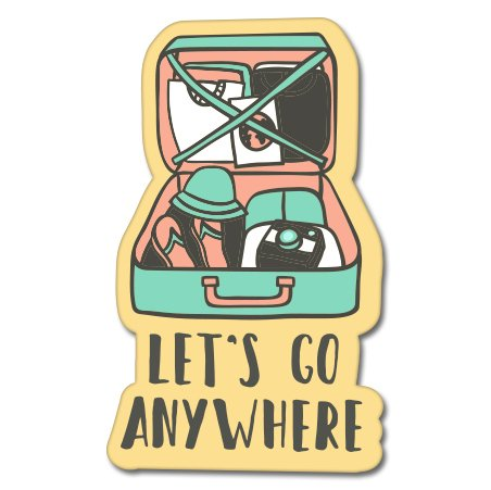 Let's Go Anywhere Suitcase Love Travel Vinyl Sticker - Car Phone Helmet - SELECT SIZE