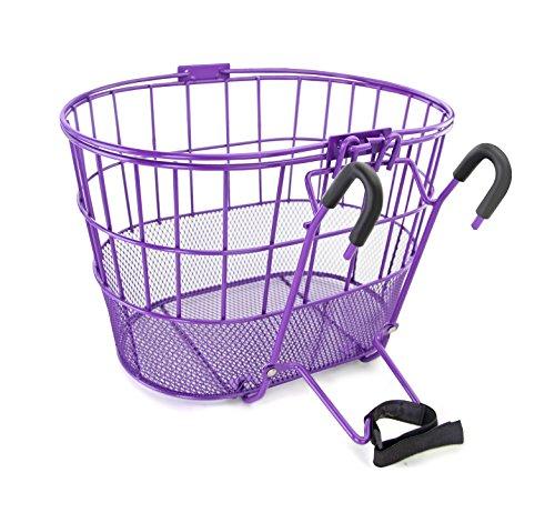 Colorbasket 02263 Mesh Bottom Lift-Off Bike Basket, with Handles, Powder Coated Steel, - Basket Bike Purple