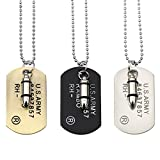KZUN Jewelry Mens Alloy Necklace Bullet US Army Dog Tag Pendant with Chain,3 colors
