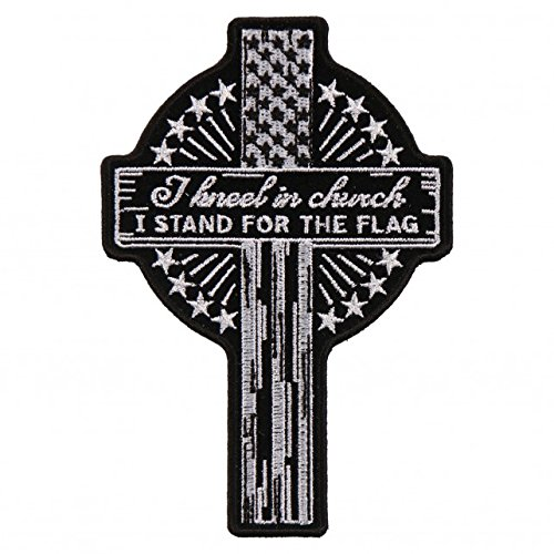 KNEEL IN CHURCH, I STAND FOR THE FLAG, Embroidered Iron-On / Saw-On, Heat Sealed Backing Rayon PATCH - 3