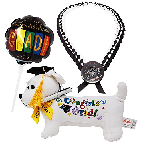 Graduation Stuffed Animal Bundle Set: Adorable Plush Dog Toy w/Pen + Balloon w/Congratulating Message + Graduation Necklace In Deluxe Plastic Box| Ultimate Autograph Animal Graduation -