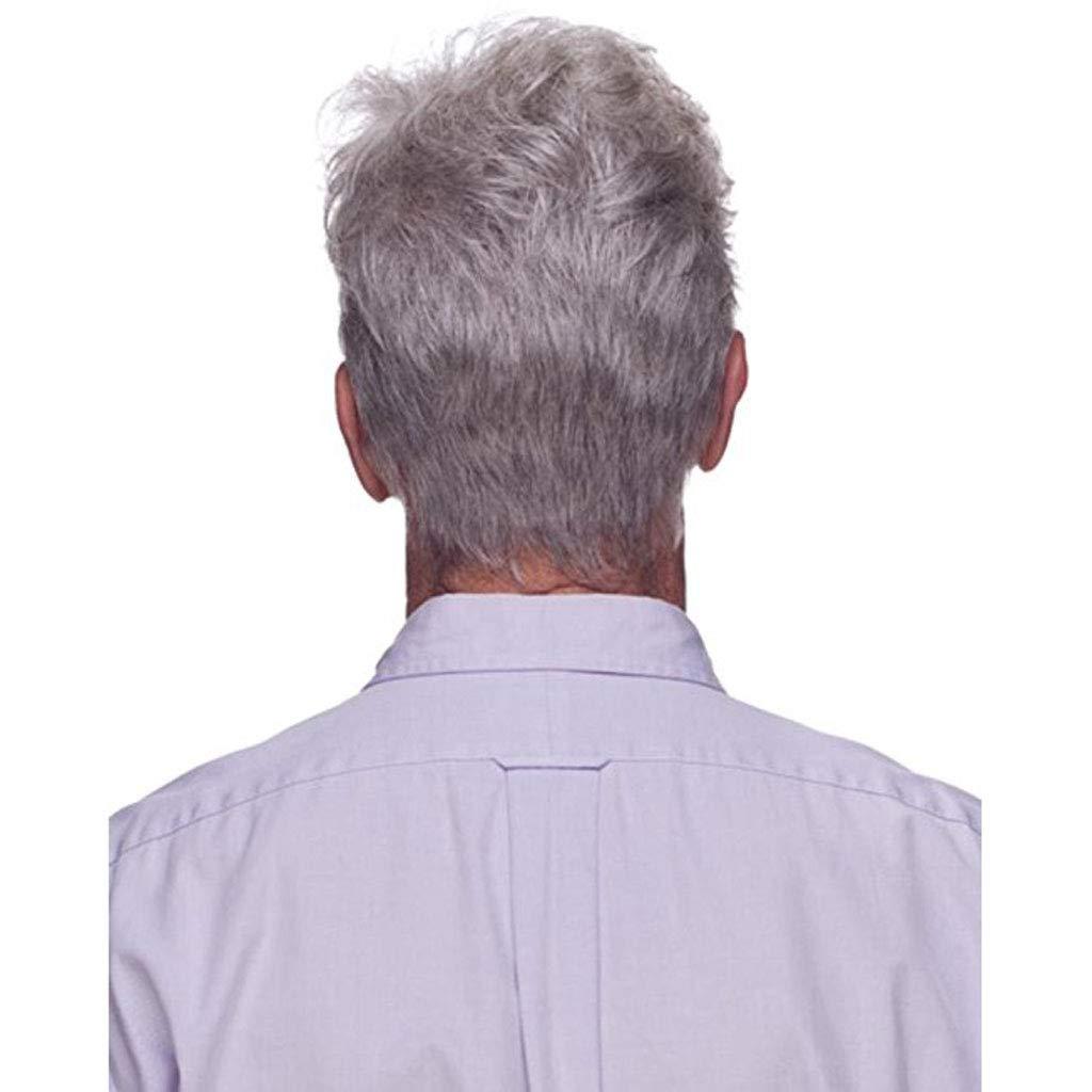 ZCM Peluca para Hombre, Moda Plateada Blanca Peluca de Pelo Corto de Mediana Edad y Natural Peluca Realista: Amazon.es: Hogar