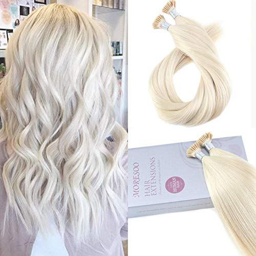 (Moresoo Straight I Tip Keratin Hair Extensions 100% Remy Human Hair Extensions Tips 18 Inch 1g/s Platinum Blonde Color #60 Fusion Tipped Human Hair Real Human Hair 50g 50 Strands )