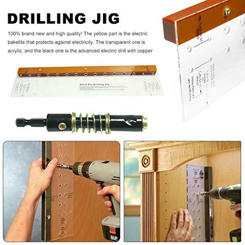 - Efaster Drilling jig,Premium Shelf Pin Drilling Jig Power Tool Accessory Jigs,Drilling Jig Furniture Cabinet Door Hinge Multi-function Mounting Locator (Orange)