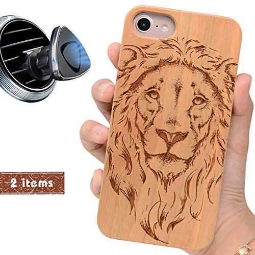 iProductsUS Wood Phone Case Compatible with iPhone 8 7 6/6S (4.7 inch) and Magnetic Mount - Protective Cases Engraved Cool Lion,Built in Metal Plate,TPU Rubber Shockproof Phone Covers (4.7