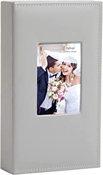 Photo Album 4x6 Cover PU Leather 300 Photos Large Capacity Photo Album for Family Wedding Anniversary Baby (Grey, 300 Pockets)