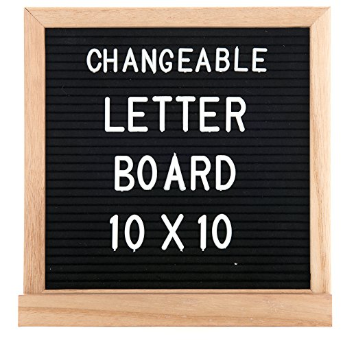 Black Felt Letter Board 10x10 Inch By Goya Boutique: Square Letterboard With Changeable Characters For Quotes And Messages, 580 Tiles Of 3/4
