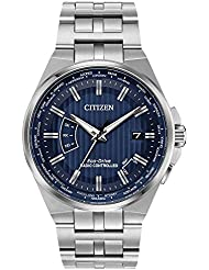 Mens Citizen Eco-Drive World Perpetual A-T Stainless Steel Watch CB0160-51L
